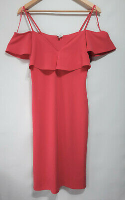 £11.99 • Buy River Island Wiggle Dress Frill Strappy Coral Pink Summer Size 12 Used