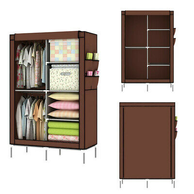 £15.85 • Buy Canvas Material Wardrobe Storage Useful Fabric Portable Cloth Closet Dust Proof