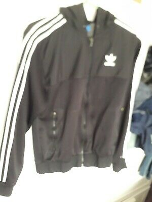 £5 • Buy Adidas Black Hooded Track Top Size Small