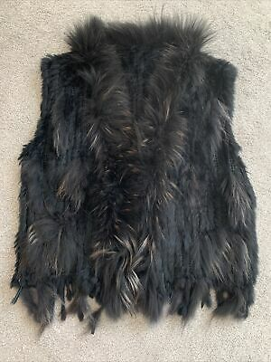 £30 • Buy Woman Real Rabbit Knitted Fur Gilet Size One