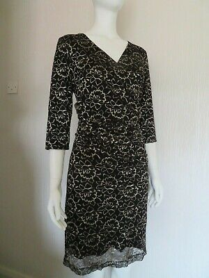 £3.75 • Buy VGC Size 14  KALIKO LACE OCCASION  DRESS WEDDING OUTFIT BLACK GOLD Cruise