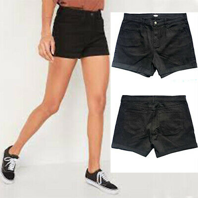 £7.99 • Buy Old Navy Black Denim Shorts High Waist Strechy Jeans Shorts Semi Fitted Cuffed