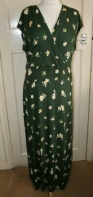 £11.50 • Buy Bnwt Size 18 Dorothy Perkins Green Floral Stretchy Maxi Dress With Elastic Waist