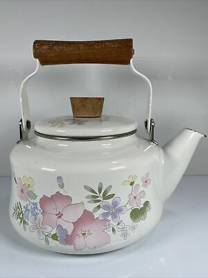 $16.99 • Buy Kobe Courtney Enamelware Covered Teapot Coffee Kettle Pastel Floral Decorated