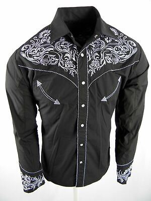 $31.95 • Buy Mens Western Rodeo Shirt Black Paisley Floral Designer Embroidery Snap Up Cowboy