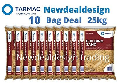 £43.99 • Buy 10 Tarmac Building Sand Builders Polybag Approx 25kg Bricklaying General Mortar