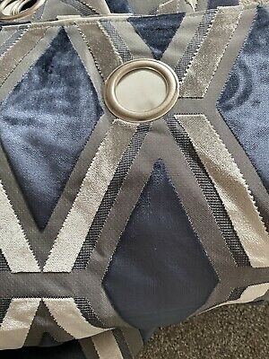 £21 • Buy Next Navy Geo Cut Velvet Collection Luxe Eyelet Curtains 168x229cm  £270...