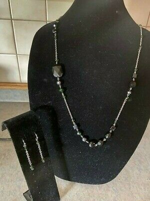 $ CDN6.29 • Buy Lia Sophia Silver Tone Chain Faceted Beads Necklace And Earring Set W.
