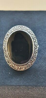 £10 • Buy Vintage 925 Silver Mourning Ring With Marcasite Stones