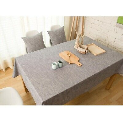 AU62.38 • Buy Plain Tablecloth Cotton Linen Rectangle Table Cloth Cover Dining Room Kitchen