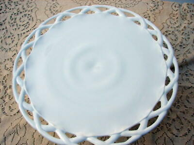 $39.95 • Buy Indiana Glass  Milk Glass Colony Lace Edge Pedestal Cake Plate Stand 14 Inch