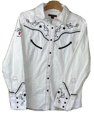 $45 • Buy PENDLETON Pearl Snap Embroidered Western Shirt Men's LG Canadian Whisky