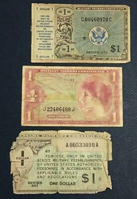 $3.58 • Buy Military Payment Certificates $1 Set Of 3 MPCs! Old US Paper Money Currency!
