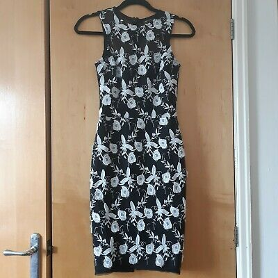 £8 • Buy Michelle Keegan Lipsy Black And White Floral Lace And Mesh Pencil Dress. Size 6.