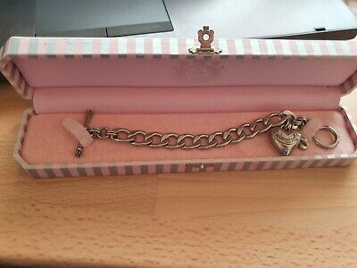 £23.50 • Buy Juicy Couture Silver Chunky T-Bar Starter Bracelet With Heart & J Charms - Boxed