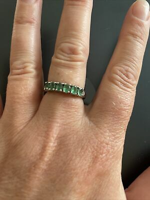 £220 • Buy Stunning Silver Emerald Eternity Ring 925 Size P