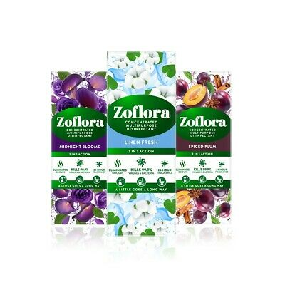 £9.99 • Buy Zoflora - 3in1 Action Linen Fresh  Midnight Blooms Spiced Plum 3x 120ml
