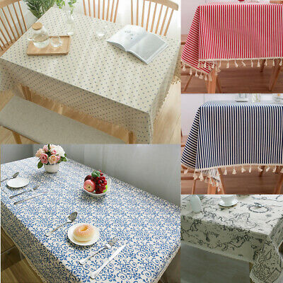 AU12.16 • Buy Retro Cotton Linen Tablecloth Rectangle Square Table Cloth Cover Kitchen Dining