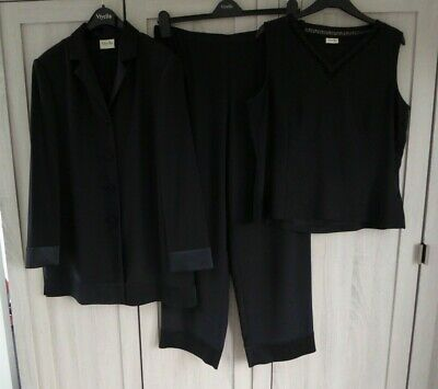 £8 • Buy Viyella Soft Black Polyester Trouser Suit : Jacket, Trousers & Top Size 14