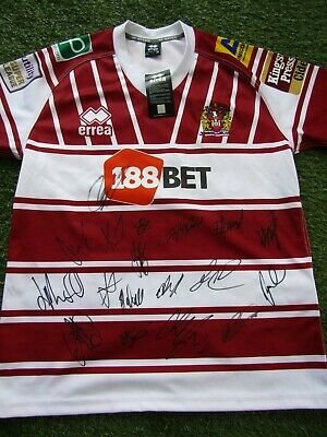 £59.99 • Buy Wigan Warriors Rugby League Shirt Hand Signed By 18 Of 2021 Squad