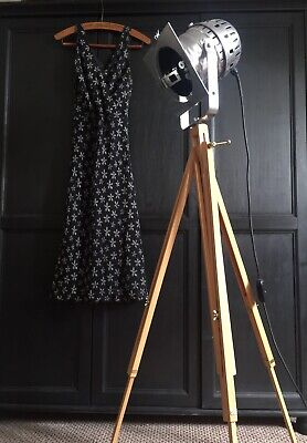 £75 • Buy Vintage Theatre Converted Industrial Floor Lamp On A Wooden Tripod Stand
