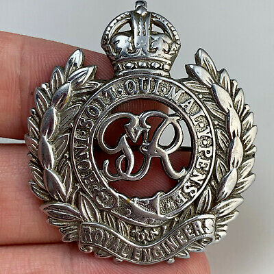 £8.50 • Buy WW2 Royal Engineers TRENCH ART Converted Cap Badge CHROMED Sweetheart Brooch
