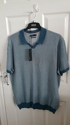 £13.99 • Buy Mens Teal Knitted Shirt Sleeve Polo Top Size 2xl From Marks And Spencer Brand...