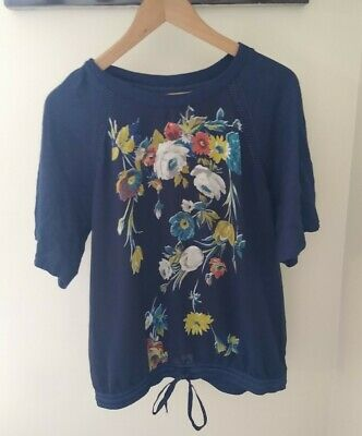 $ CDN31.46 • Buy Anthropologie Tiny Floral Mixed Media Blouse Large Blue Tie Front Work