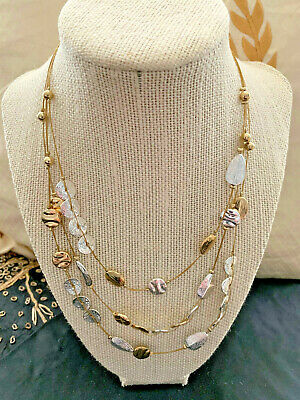 $ CDN12.59 • Buy Vintage Japanese Lotus Flower Puddles Wire Necklace Silver/Gold Tone Size 18