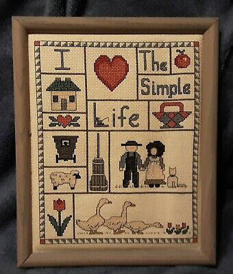 £8.65 • Buy Framed Finished Cross Stitch  I Love The Simple Life