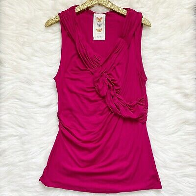 $ CDN40.26 • Buy Anthropologie Womens Tank Ruched Magenta Pink Flattering Top Butterfly Label XL