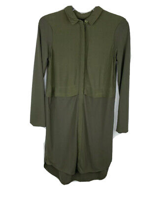 £3.63 • Buy Topshop Women's Shirt Dress Olive Green Collared Button Down Long Sleeve Size 2