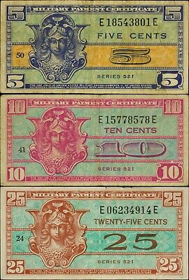 $1.25 • Buy Series 521 MPC 5, 10, 25 Cent Lot Of 3 Notes