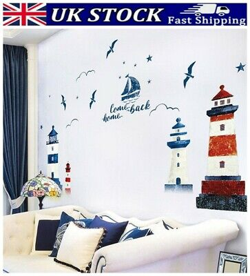 £7.99 • Buy Nautical Boat Seagull Lighthouse Sea Ocean Home Wall-Sticker Decals Decor