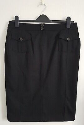 £9.99 • Buy Jaeger Ladies Women's Black Skirt With Side And Front Pockets - UK Size 14