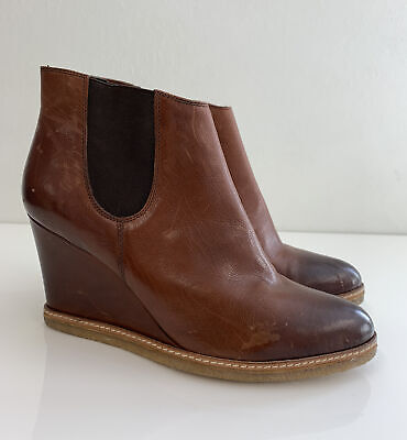 £20 • Buy Kennel & Schmenger Brown Leather Wedge Boots 8