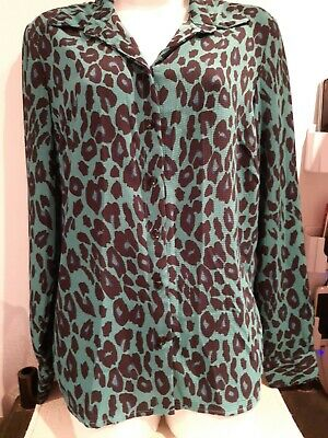 £1.25 • Buy New Look.  Bright Green Pattern Blouse.  Size 10