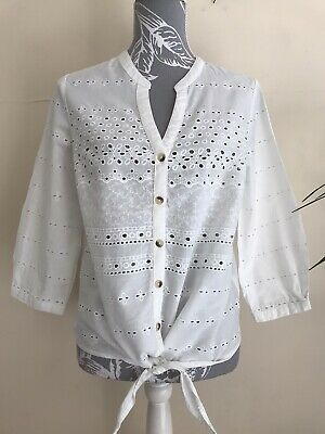 £2.20 • Buy Ladies Broderie Angaise Tie Front White 3/4 Sleeve Blouse Top Size 12-14