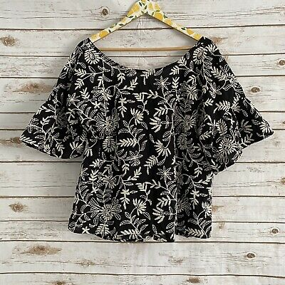 $ CDN62.93 • Buy Anthropologie Black White Rory Embroidered Top Size XL