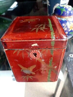 £15 • Buy Small Antique Japanese Lacquer Tea Caddy 10cms Tall