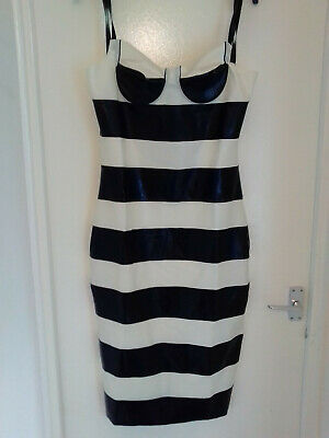 £100 • Buy Black/White 2 Toned Rubber Latex Strappy Neck Pencil Dress Large XXL - HAND MADE