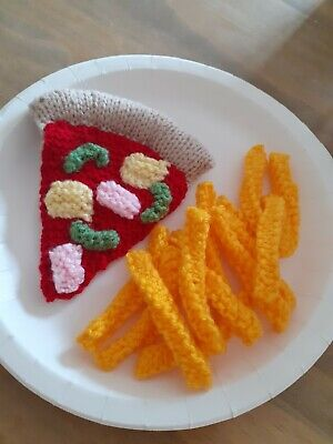 £4.50 • Buy Hand Knitted PIZZA & CHIPS Knitted  Food/Toys Play Kitchen/Shop