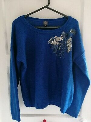 £0.99 • Buy Preloved - Little Miss By Captain Tortue Blue Sequinned Jumper - Sz M
