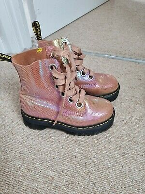 £90 • Buy Dr Martens Platform Molly Irridescent Mermaid Orange Boots Size 3 Perfect Cond