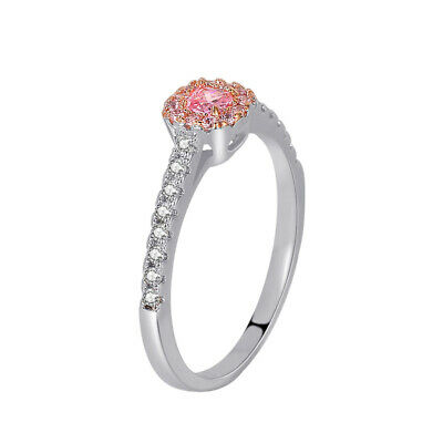 £4.50 • Buy Ladies 925 Sterling Silver Princess Cut Pink ZIRCON Solitaire Wedding Ring Gift