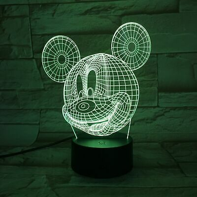 £14.89 • Buy MOUSE DISNEY MICKEY 3D USB LED 7 Color Night Light Touch Table Lamp Gift