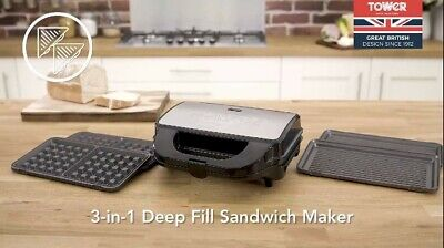 £23.99 • Buy Tower T27020 3-in-1 Grill, Sandwich And Waffle Maker With Non-Stick, Easy Clean