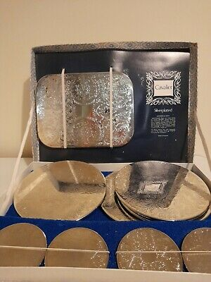 £80 • Buy Cavalier Vintage Silver Plated Place Mats Placemats Green Felt Base Set Tray