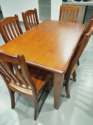 AU200 • Buy Wooden Dining Table And Six Chairs