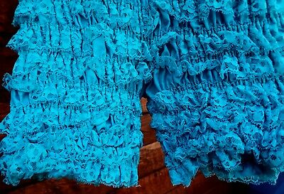 $17.77 • Buy Square Dance Pettipants MALCO MED Polyester Ruffle Lace Sissy AQUA BLUE Bloomers